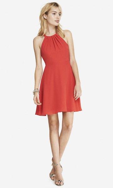 red halter dress floral flip flops