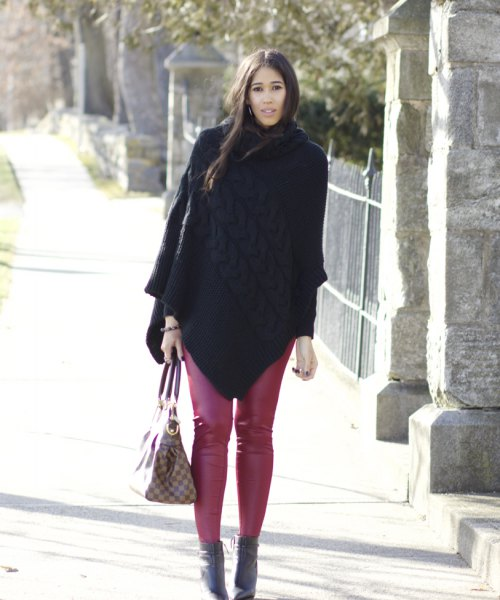 red leggings black wool coat ankle boots