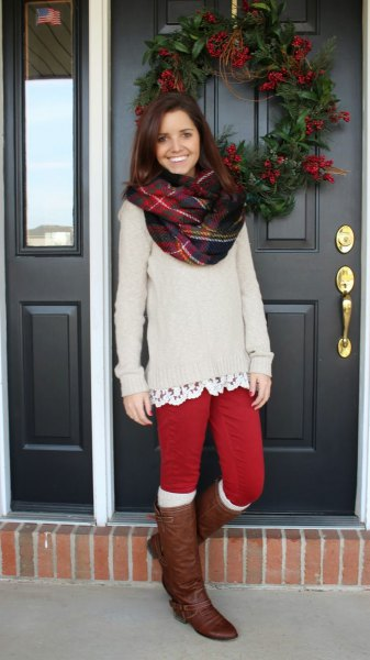 red leggings chunky sweater knee high boots