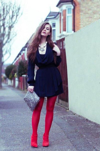 red leggings navy dress