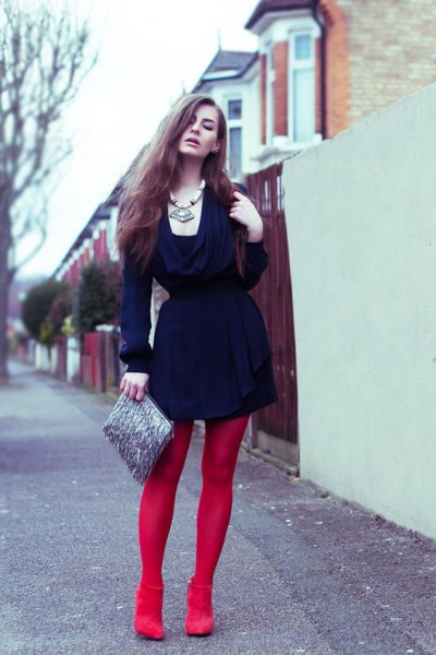 red leggings navy dress