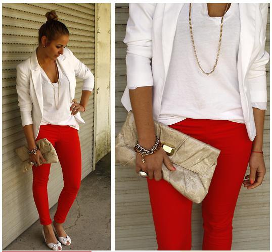 red leggings white u neck top white blazer