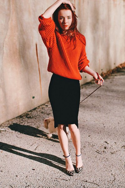 red oversized knit sweater black pencil skirt