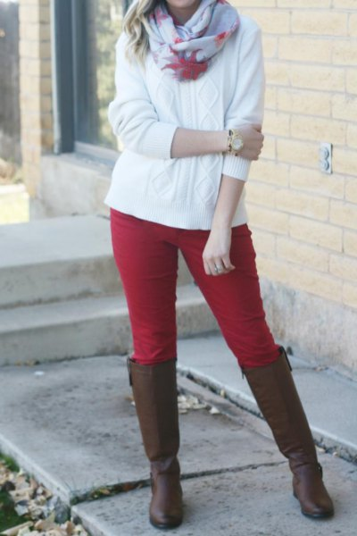 red riding pants white cable knit sweater
