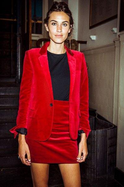 red velvet blazer skirt outfit