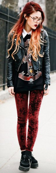 red velvet leggings black print sweater