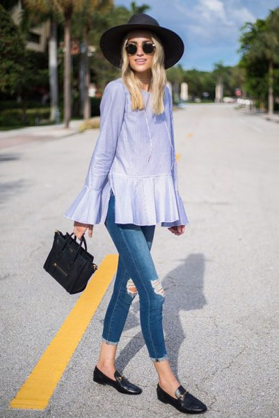 ripped jeans striped peplum top loafers