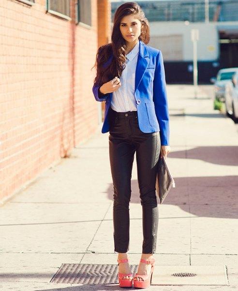 royal blue blazer leather pants