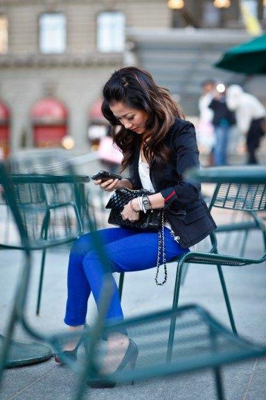 royal blue jeans black leather jacket