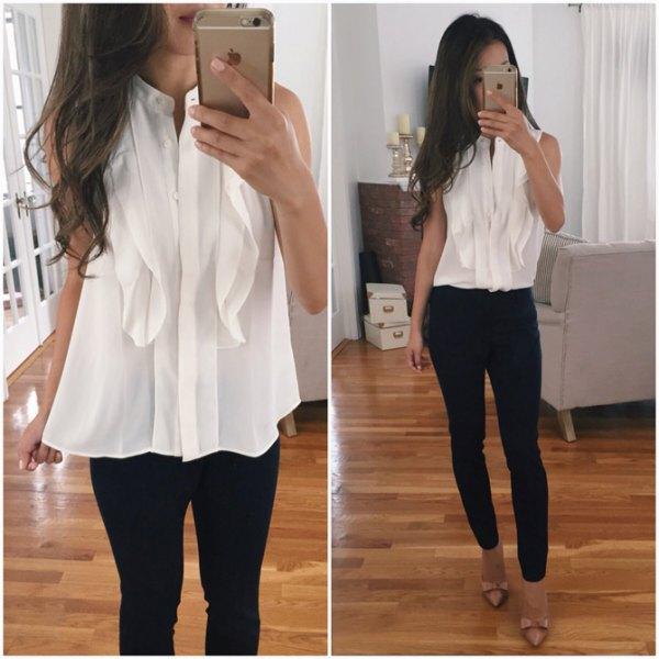 ruffle chiffon blouse black skinny jeans