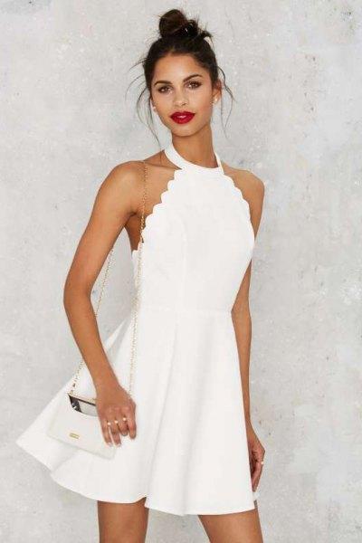 scallop hem white halter dress heeled sandals