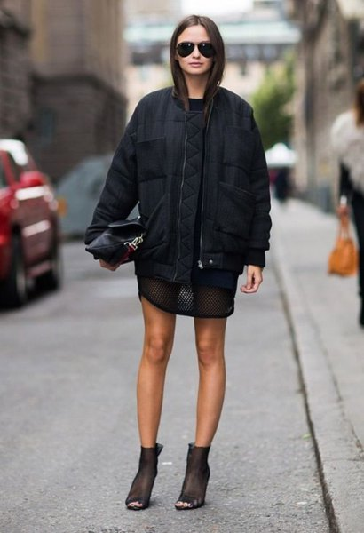 semi sheer t shirt dress black bomber jacket