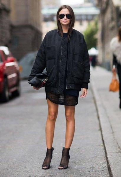 semi sheer t shirt dress black bomber jacket