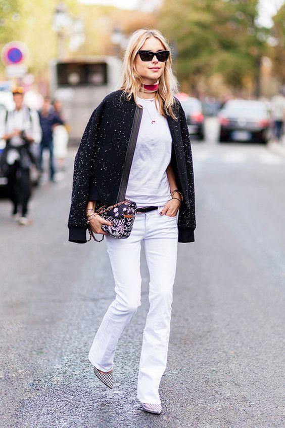 sequin bomber jacket white jeans