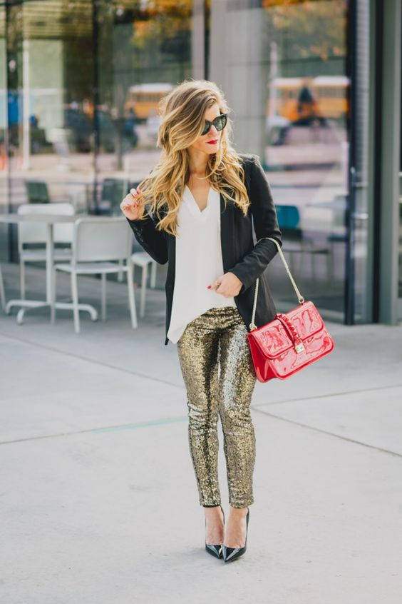 sequin leggings red bag