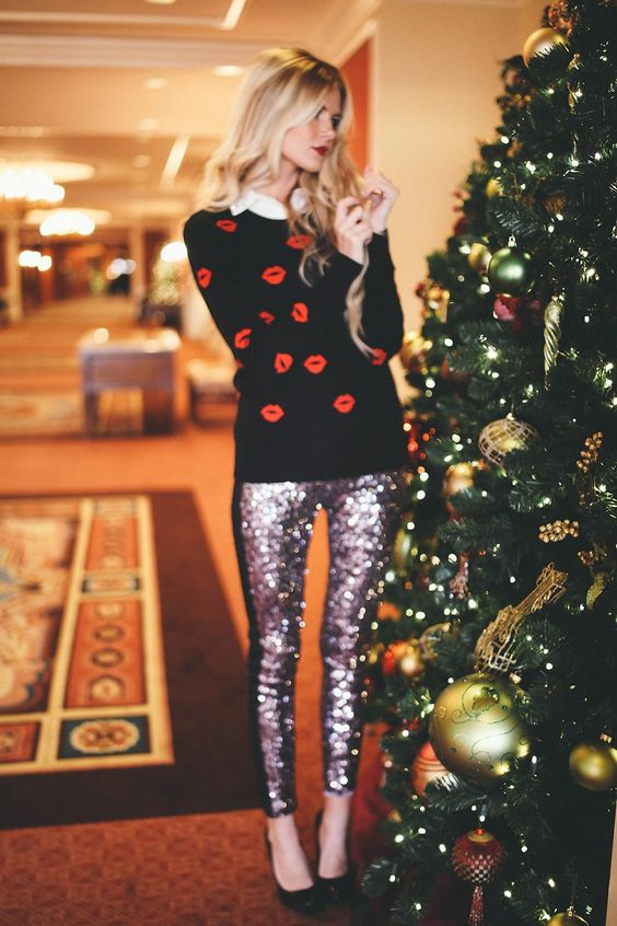 sequin leggings ugly sweater