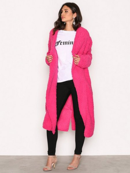 shocking pink maxi coat black skinny jeans