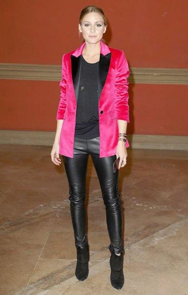 shocking pink velvet blazer leather leggings