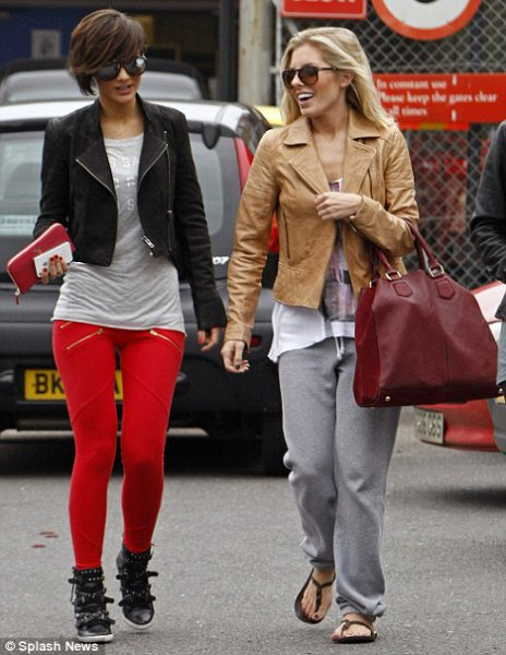 short leather jacket red leggings