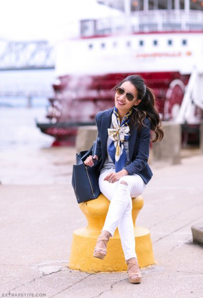 silk bow scarf navy wool blazer white pants