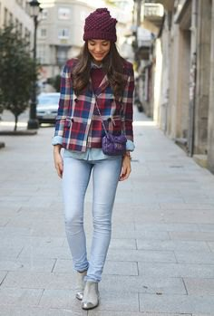 silver ankle boots navy and brown plaid boyfriend shirt