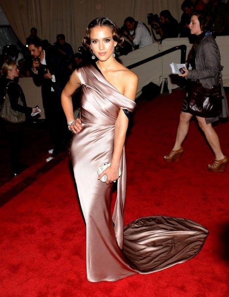 silver one shoulder long silk dress