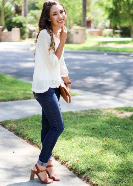 skinny jeans blouse sheer overlay