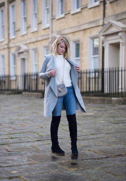 skinny jeans grey trench coat knee high boots