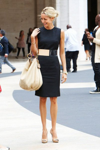 sleeveless black dress wide gold belt