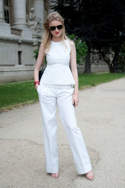 sleeveless peplum top wide leg pants outfit