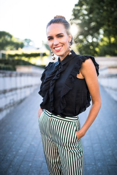 sleeveless ruffle top black and white striped pants