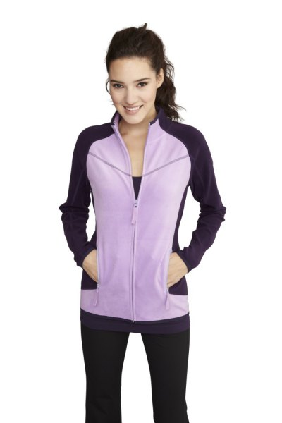 sporty form fitting fleece jacket