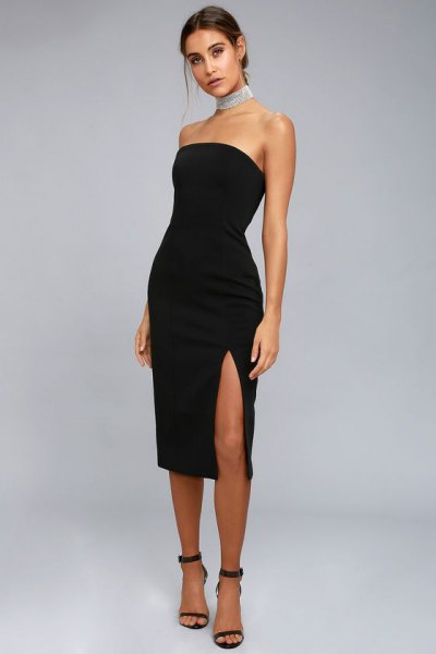 strapless high split midi black dress strappy heels