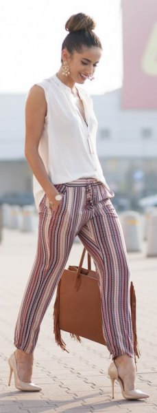 striped linen pants tank top heels