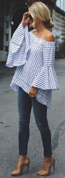 striped off shoulder top bell sleeve outfit