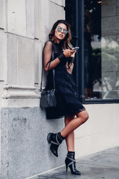 studded heels black shift dress