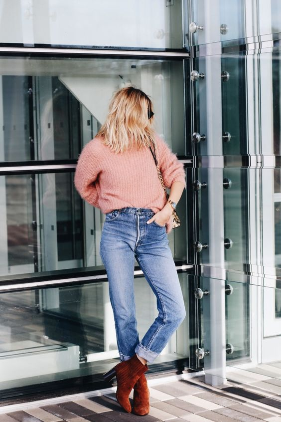 suede heels blush pink sweater