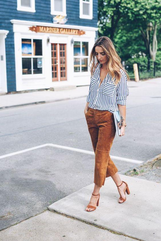 suede heels brown culottes