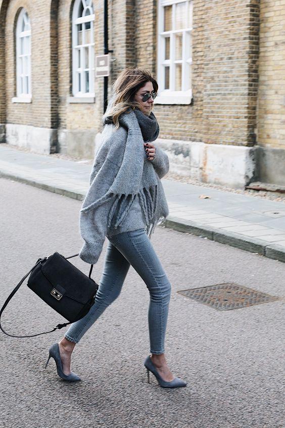 suede heels grey scarf