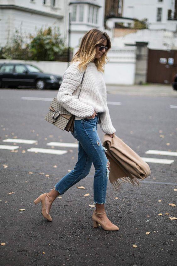 suede heels white sweater
