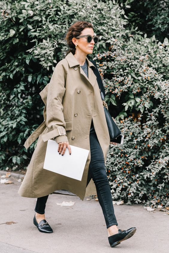 trench coat long loafers