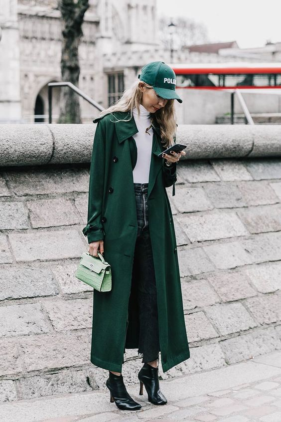 trench coat long oversized emerald green
