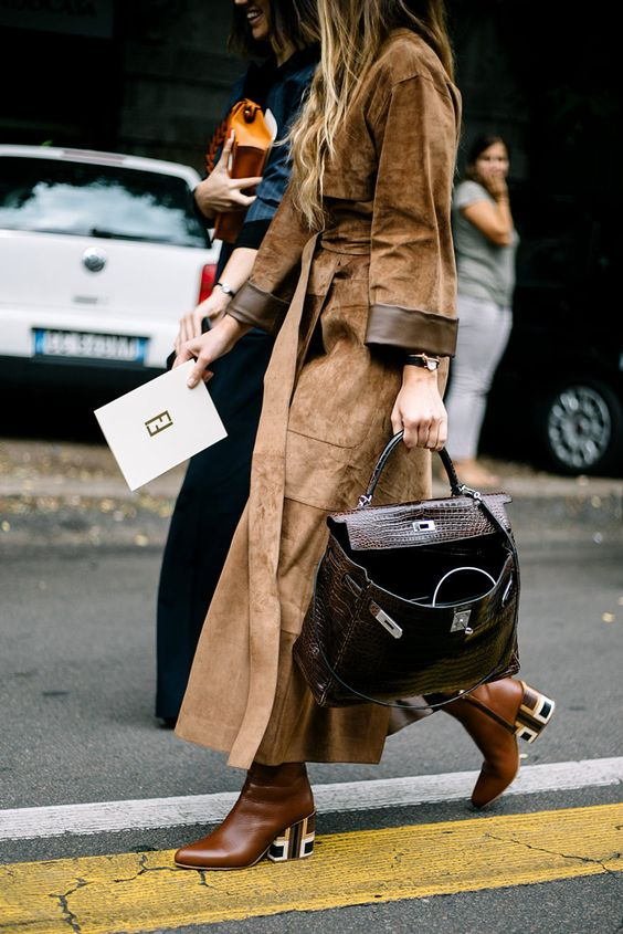 trench coat suede