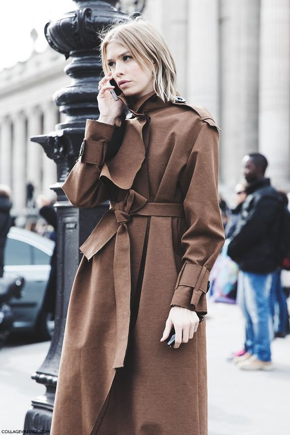 trench coat oversized long brown
