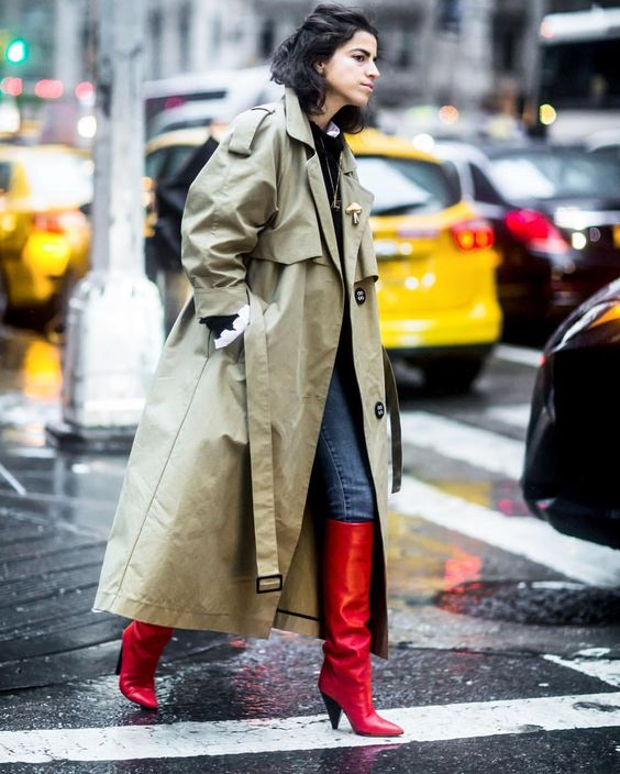 trench coat long oversized red boots
