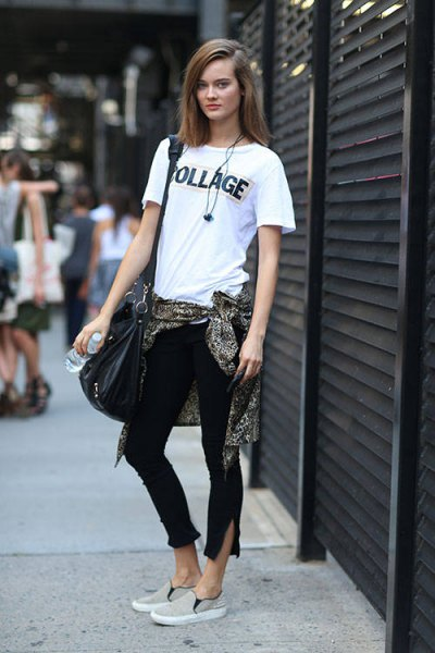 tucked white t shirt cropped skinny jeans