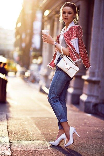 tweed jacket grey sweater white heels