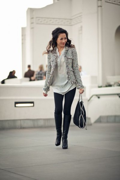 tweed jacket polo shirt dress leggings