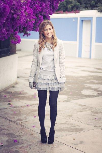 twirly frill skirt blazer black stockings
