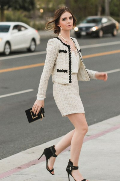 two piece set tweed jacket pencil skirt